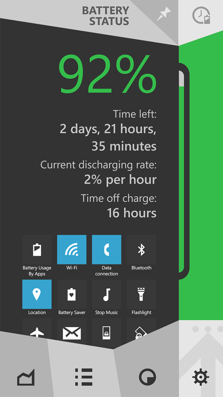 Battery Status Dashboard Windows Phone