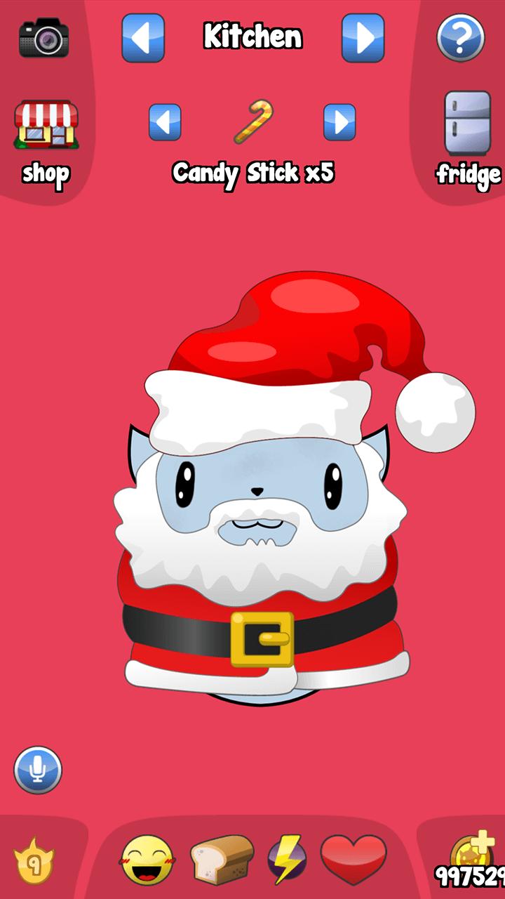 Virtual pet Omi in Santa outfit