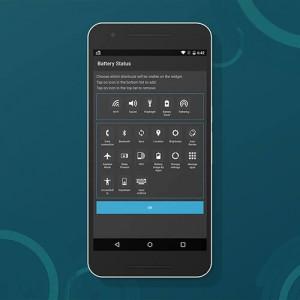 Settings widget configuration screen