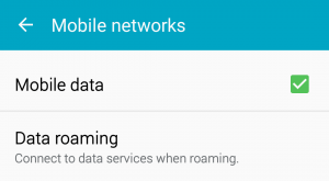 mobile networks and data settings