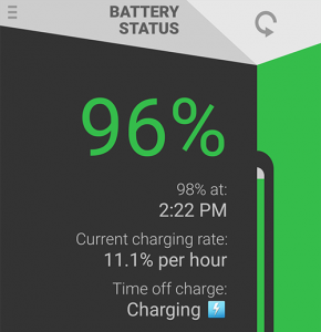 Now app shows time when battery will be at 98%