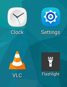 Flashlight shortcut widget with label